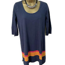 French Connection Tunic S 10 Long Top Mini Dress Cotton Casual Navy Stripe 3/4 Photo