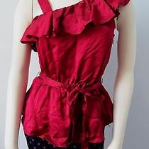 French Connection Women Heartbreaker Tie Waist  Ruffle Blouse Tank Nwt Size 4 Photo