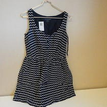 French Connection Women's Zig Zag Button Front Dress Nocturnal/white 6 - Nwt Photo