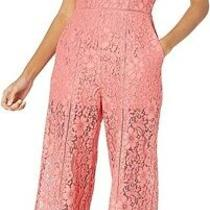 French Connection Womens Jumpsuit Blush Pink Size 8 Floral Lace Cropped 198 011 Photo