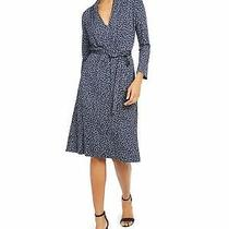 French Connection Womens Navy Long Sleeve Below the Knee Fit  Flare Dress 10 Photo