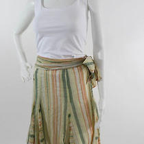 French Connection Yellow Green Orange Striped Side Tie Skirt Sz 8 Sale Photo