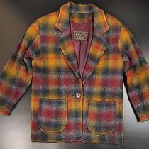 French Country Express Wool Coat Jacket Xs Brown Shadow Plaid Work Chore Barn Photo