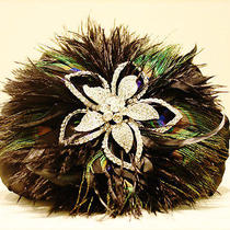 French Designer Evening Bag Silk Satin Swarovski Elements Peacock Feathers Photo
