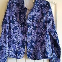 French Laundry Purple Floral Button Front Jean Jacketcotton/spandex Sz L Photo