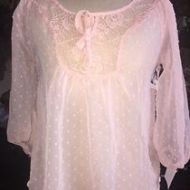 Fresh Brewed Women Top New Small Sheer Blouse Blush Pink Casual 3/4 Sleeve Nwt Photo