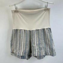 Fresh Laundry Beige Striped Linen Maternity Cuffed Shorts Sz M Photo