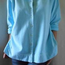 Fresh Produce 100% Cotton L Sleeve Button Down Tunic Aqua Sz Xl Photo