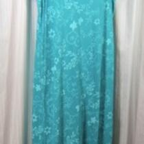 Fresh Produce Sz. Xl Turquoise Blue Floral Sleeveless Long Cotton Tank Dress Xl Photo