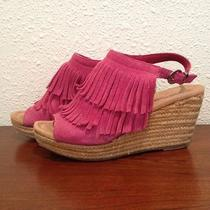 Fringe Sandals  Minnetonka Moccasin Wedge Heels  Sz 36 or Us 6  Photo