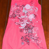 From Guess--Red Tank Top With Floral Design and Sequins-Size Large Photo