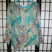 From Sb Collections a Pretty Turquoise and Brown Animal Print. Necklace Inc.  Photo