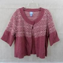 Frost Pink Mauve Nordic 100% Lamb's Wool Sweater L Large Photo