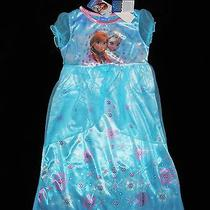 Frozen Disney Girls Blue Fantasy Nightgown Pajamas Size 4 Nwt Photo