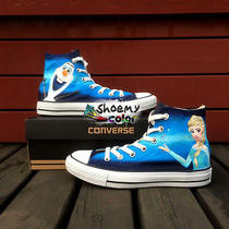 Frozen Shoes for Kids Adult Hand Painted Canvas Shoes Custom Design Sneaker Photo