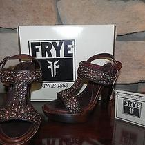 Frye 228 Joy Vintage Brown Studded  Platform High Heel Sandals Slingbacks 9.5 Photo