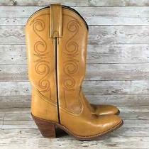 Frye 7062 Vintage Womens Size 8 Tan Leather Heel Pull on Western Cowgirl Boots Photo