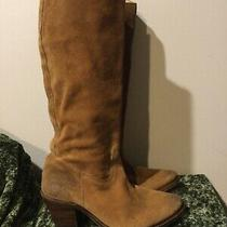 Frye 77091 Goodyear Welt Camel Brown Suede Tall High Pull on Boots 9 Photo