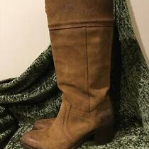Frye 77222 Light Brown Nubuck Oiled Leather Tall High Slip on Pulls Boots 9 Photo