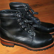 Frye Addison Lug Lace Up Ankle Boot Round Toe Leather Black Size Us 9 Made Usa Photo