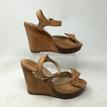 Frye Alexa Bow Ankle Strap Wedge Sandals 8.5 M Womens Open Toe Leather Brown Photo