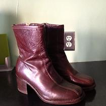 Frye Ankle Boot Side Zip Size 9 Mahogany Brown Leather Photo