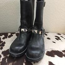Frye Bike Distressed Black Leather Short Boots Size 5.5m  Photo