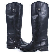 Frye Black Extended Calf Leather Melissa Button Riding Pull on Boots Shoes 7 New Photo