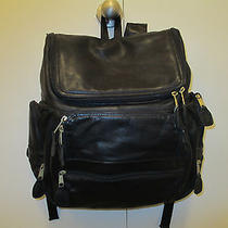 Frye Black Leather  Multi Pocket Organizer Padded Computer Laptop Backpack Photo
