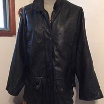Frye Black Leather Parka Size Medium Free Shipping Photo