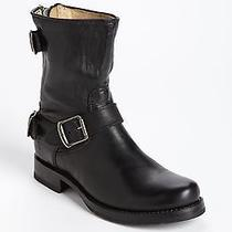 Frye Black Veronica Back Zip Short Biker Motorcycle Boots Shoes Sz 8.5 B Photo