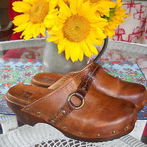 Frye  Boho Buckle Distressed Leather Clogs Brown 8.5 Clara O Ring Photo