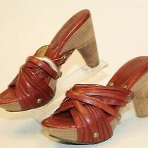 Frye Boot Co. Reese Womens 5.5 M Red Leather Slip on Slides Dress Heels Shoes  Photo