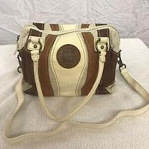 Frye Brown Clutch Tri-Color Brown Leather and Canvas Bag Satchel Vintage Rare Photo