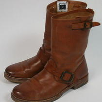 Frye Brown Cognac Leather Pull-on Veronica Shortie Ankle Motorcycle Boots 8 1/2 Photo