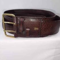 Frye Brown Double Leather Rugged Western Look Belt.  Photo