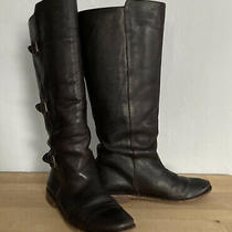 Frye Brown Leather Paige Tall Buckle Riding Boot sz.8b  77066 Photo
