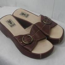 Frye Brown Leather Slides Buckle Sandal 6m Catalina Photo