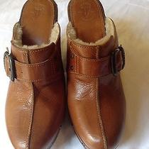 Frye  Brown Leather Wood Heel Wool Lined Studded Clog/mule 9 B Photo