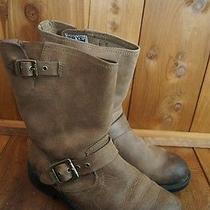 Frye Brown Pull on Side Buckle Leather 2 Boy's Boots  Photo