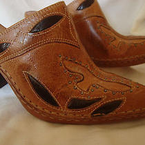 Frye Brown Studded Leather Pointed Toe Western Mule Clogs Size 6 M Photo