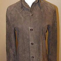 Frye Brown Suede Leather Jacket Shirt S Photo