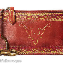 Frye Campus Stitch Burnt Red Leather Zip Top Card Case Pouch Nwt in Gift Box Photo