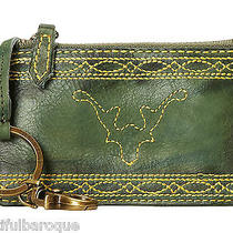 Frye Campus Stitch Olive Green Leather Zip Top Card Case Pouch Nwt in Gift Box Photo
