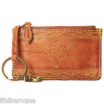 Frye Campus Stitch Saddle Brown Leather Zip Top Card Case Pouch Nwt in Gift Box Photo