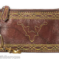 Frye Campus Stitch Walnut Brown Leather Zip Top Card Case Pouch Nwt in Gift Box Photo