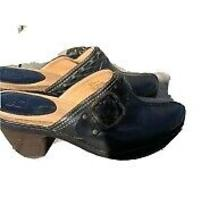 Frye Candice Woven Clogs Black Buckle Leather Shoes Clogs Mules Leather Size 9 Photo