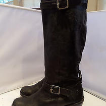 Frye Carmen Tall Knee High Heel Belted Harness Black Leather Riding Boots 9 B Photo