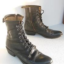 Frye Carson Lug Boot 9 Black Leather Lace Up Used Worn Heel Lift Need Replacing Photo