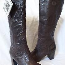 Frye Carson Mid Heel Tab Boots Dark Brown Leather Knee High Womens 5.5 398 Photo